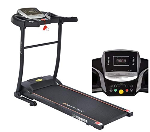 Lets Play LP-NG9998 1.5HP Motor (Peak 3HP) Foldable Motorized Automatic Treadmill for Home Use, Black
