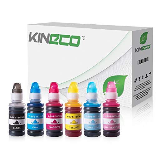 Kineco Set 6 Tintenpatronen kompatibel für Epson L800 L805 L810 L850 L1800ITS 6X 70ml Schwarz,Cyan,Magenta,Gelb,Photo Magenta, Photo Cyan