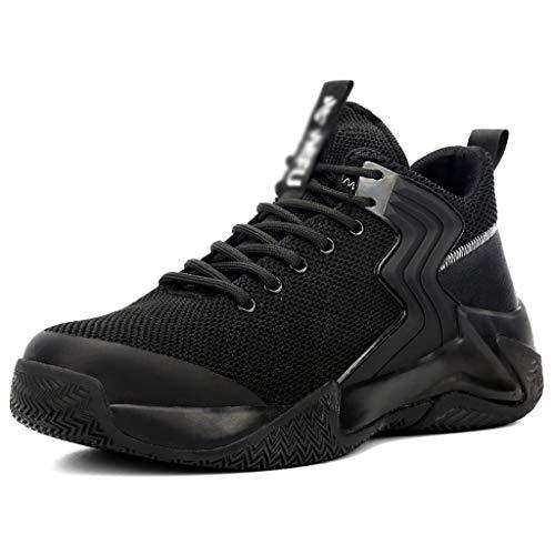 Zapatos de seguridad Entrenadores de seguridad de los hombres, tejidos / tpu zapatos al aire libre casuales aislados antideslizantes, tapa de punta de acero transpirable transpirable botas ligeras de