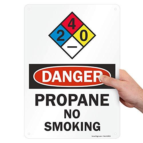 "SmartSign ""Danger - Propane, No Smoking"" NFPA Sign   10"" x 14"" Aluminum"