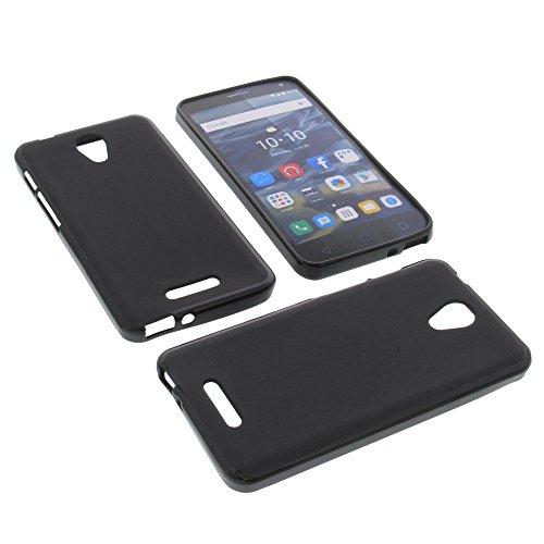 foto-kontor Tasche für Alcatel One Touch Pop 4 Gummi TPU Schutz Hülle Handytasche schwarz