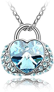 1000se Austrian Imported Crystal Necklace-Love for Life, Creative Heart Lock Pendant Female