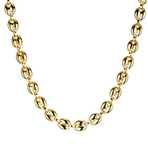 Qiman 11 mm granos de café cadenas pulseras de acero inoxidable collares para hombres mujeres Charm joyas regalos