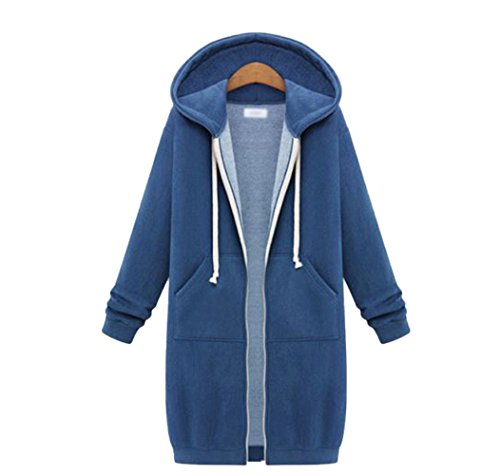 Womens Winter Casual Zip up Coat Hoodie Cardigan Outwear Jacket Long Sweatshirt (3XL, Blue)