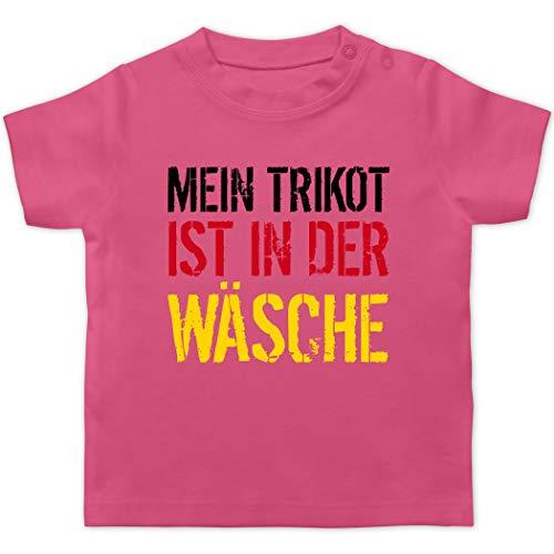 Fußball-Europameisterschaft 2020 - Baby - Mein Trikot ist in der Wäsche WM Deutschland - 1/3 Monate - Pink - Deutschland Trikot Baby wm 2018 - BZ02 - Baby T-Shirt Kurzarm