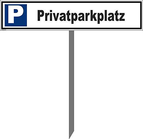 Kleberio® Parkplatz Schild 52 x 11 cm - Privatparkplatz - mit Einschlagpfosten 0,75 Meter (75cm) und Montagematerial stabile Aluminiumverbundplatte