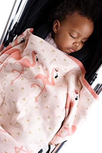 BIZZI GROWIN - Flamingo Border Knitted Blanket - Pink (70CM X 90CM)