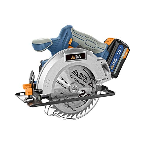 BLUE RIDGE Cordless Circular Saw 18V with 4.0Ah Battery,...