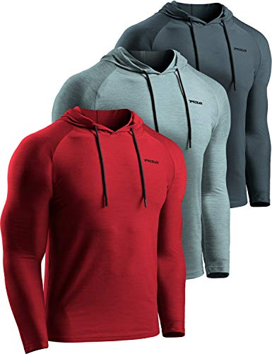 TSLA Men's Long Sleeve Pullover, Dry Fit Running Workout Shirts, Athletic Fitness & Gym Shirt, Hoodie Pullover Charcoal/Red/Sage, Medium