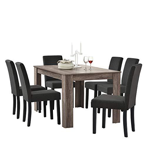 [en.casa] Set de Comedor Elegante Mesa de diseno Roble Antiguo con 6 sillas Gris Oscuro - 140x90cm