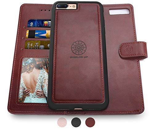 Shields Up iPhone 8 Plus Case/iPhone 7 Plus Case,[Detachable] Magnetic Wallet Case,Durable and Slim,Lightweight with Card/Cash Slots,[Vegan Leather] Cover for Apple iPhone 8 Plus/7 Plus -Brown