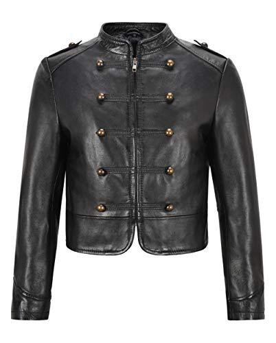 Smart Range Leather Chaqueta Corta con Tachuelas en el Frente para Mujer Chaqueta de Cuero Genuina clásica Negra de Napa 2266