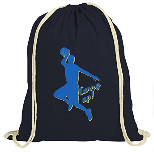 Shirt Happenz Stephen Curry Up Premium Turnbeutel | Basketball | NBA | Hurry Up | Unisex | Gymbag, Farbe:Navyblau (Gymbeutel);Größe:37cm x 46 cm
