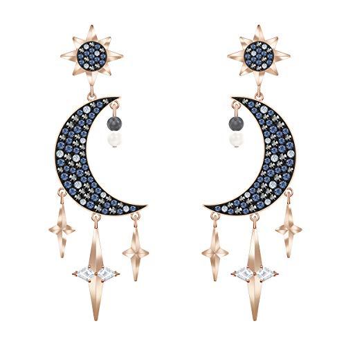 Swarovski Symbolic Ohrringe, Hängeohrringe im Metallmix in Mond- und Sterne-Design mit Funkelnden Swarovski Kristallen