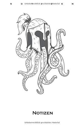 Oktopus Ritter Schutzhelm mit Zopf Notizbuch: Punkteraster Notizbuch für Freunde des Mittelalters