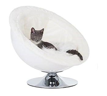 Style rétro années 70Panier pour chien fauteuil lounge–Sur un élégant pied chromé–Surface de couchage très confortable–Idéal pour chats et petits chiens de grande race