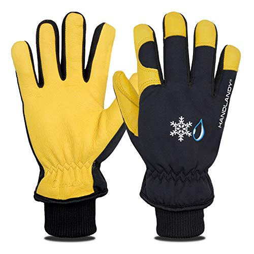 HANDLANDY Winter Work Gloves for Women and Men, Insulating Waterproof Deerskin Leather Gloves, -10℉Cold Proof Windproof Thermal Warm Glove for Driving Running Cycling Skiing Outdoor Working (Medium)