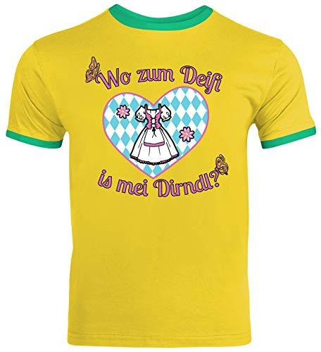 ShirtStreet Gaudi Wiesn Herren Männer Ringer Trikot T-Shirt Oktoberfest - Wo zum Deifi is MEI Dirndl 2, Größe: L,Sunflower/Kelly Green