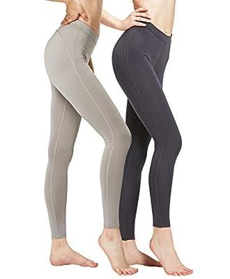 DEVOPS Women's 2 Pack Thermal Long Johns Underwear Leggings Pants (X-Small, Charcoal/Light Grey)