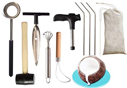 Coconut Opener | Coconut Opener Kit with Hammer Stainless Steel Opening Utensil Premium Wooden...