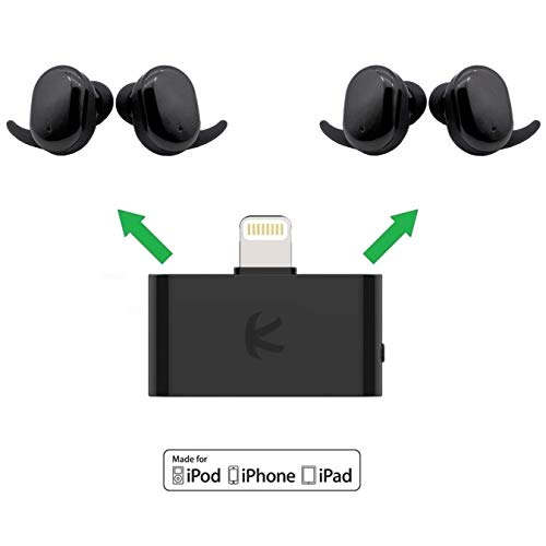 KOKKIA i10L_Plus_2AirBuds: i10L Divisor de transmisor Bluetooth Compatible con Apple iPhone, iPad, iPod Touch Plus 2 Juegos AirBuds Touch True Wireless (TWS) Auriculares Bluetooth.