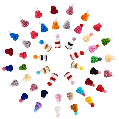 Fashewelry 100Pcs Colorful Mini Knitting Wool Yarn Hat Ornaments Cute Handmade Woven Doll Hat Embellishments for Costume Hair Accessories Party Decoration Craft Art Jewelry Making