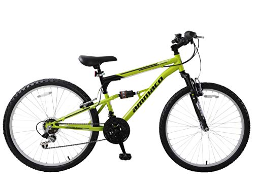 Ammaco. Summit 26' Wheel Dual Full Suspension Mens Mountain Bike Green Black 16' Frame 18 Speed