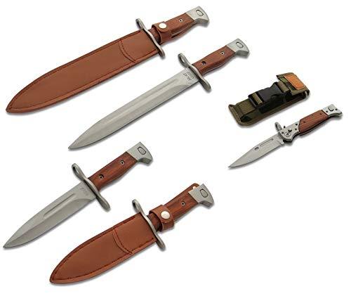 KOSxBO® XXL Set 3X klassisches Messer 47 - Gürtelmesser - Gartenmesser - Klappmesser - Bajonettverschluss - Camping Knife - inklusive 3X Etui