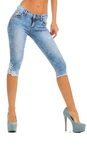 Fashion4Young 4016 Damen Capri Jeans 3/4-Jeans Slim-fit Damenjeans Caprihose Spitze Streetwear Slimline (blau, S-36)