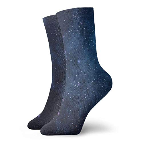 Verctor Hommes Femmes Crew Sock Stars and Moon in Space Chaussettes de Sport Short Boot Stocking 30CM
