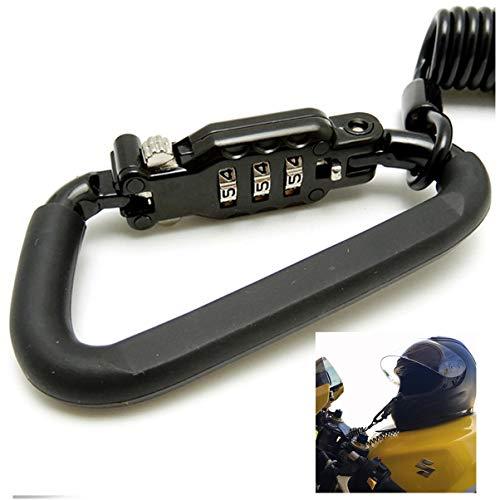 I3C Serratura antifurto in metallo antifurto Blocco di sicurezza per casco moto per bici valigie Sci snowboard nero 1.8m