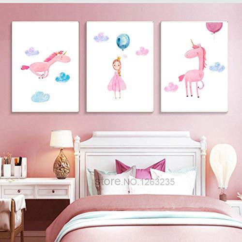 Globo de unicornio Baby Girl Room Decor Pictures Nordic Poster Nursery Wall Art Canvas Painting Cuadros Decoración Imprimir Sin marco-40 * 60cm * 3