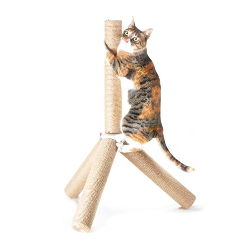 [NEW] 4CLAWS Jute Tripod Scratching Post 30',White,30 x 21 x 21 in
