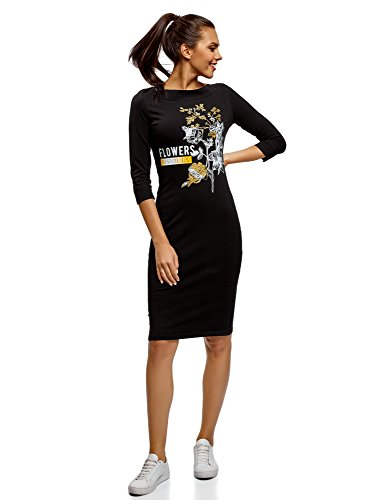 oodji Ultra Women's Boat Neck Dress with 3/4 Sleeves, Black, 4