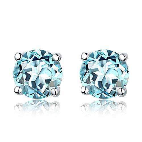 JY Novedad Joyas - Pendientes con incrustaciones de topacio .925 de plata esterlina para mujeres Pendientes de botón/Azul