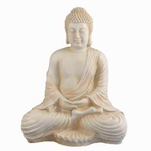 Vamundo Dhiana Mudra - Figura decorativa (tamaño grande), forma de Buda, color marfil