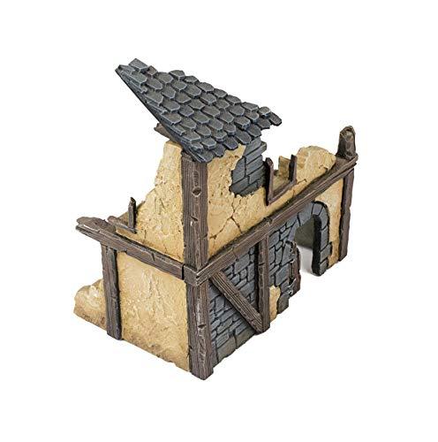 War World Gaming Fantasy Village - Casa 1 en ruinas - 28mm Wargaming Medieval Miniaturas Maquetas Dioramas Edificios Wargames Guerra Aldea Pueblo Edad Media