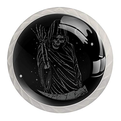 Grim Reaper Skull Horror 4pcs Armario Armario Armario Cajón Tirador Puerta Tirador