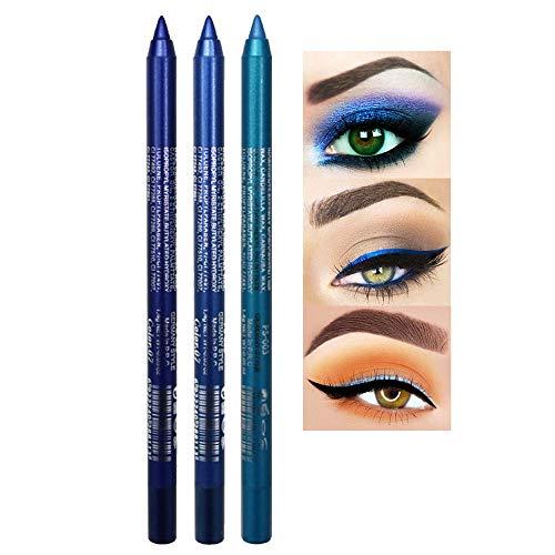 New Cosmetic Make Up Waterproof Long Lasting Women Eye Liner Eyeliner, 3 PCS Glitter Metallic Eyeliner Pencil Shimmer Highlighter Eye Liner Pencils Eyeshadow Professional Makeup Set (C)
