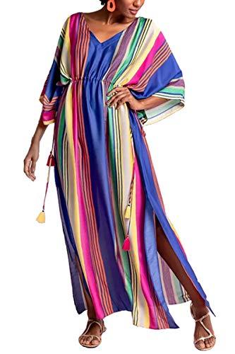 LikeJump Donna Lungo Kaftan Bohémien Vestito da Spiaggia Abito Maxi Parei Mare Costume da Bagno Cover Up Dress Estate