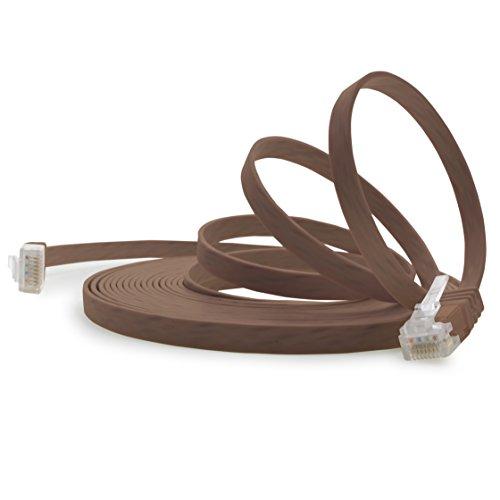 1aTTack.de Cable de red plano Cat 6, 15 m, 1 unidad, color marrón, ultraplano, Cat 6, cable de pares trenzados, 1000 Mbit/s, Gigabit LAN (RJ45), plano, fino
