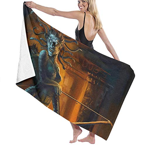 Lowest Prices! Halloween Medusa Snake Scary Themed Party Pattern Printed Beach Blanket Mat Pool Bath...