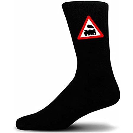 Black Socks With a Warning Train Sign. Perfect for that gift for that special person in your life. Like these, take a look at our mugs and cufflinks to add to your gift choice.