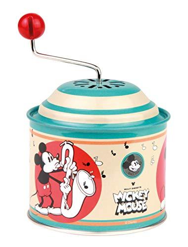 Lena Tin Toys 52766 Disney Mickey Mouse - Caja de música (10,5 x 7,5 cm, Lata con melodía de los gladiadores, Lata giratoria de Metal, para niños a Partir de 18 Meses), diseño de órgano