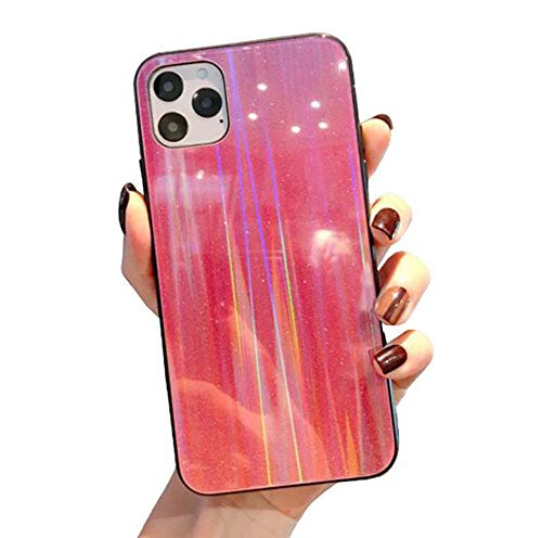 WODETIAN Transparent Aurora Gradient Color Case for Iphone 11/11 Pro/11 Pro Max Ultra Thin Tempered Glass Back Anti-Scratch TPU Bumper Shockproof Protective Case Cover,E,11