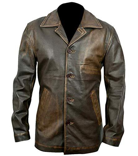 HiFaved Abrigo de cuero largo natural marrón súper desgastado