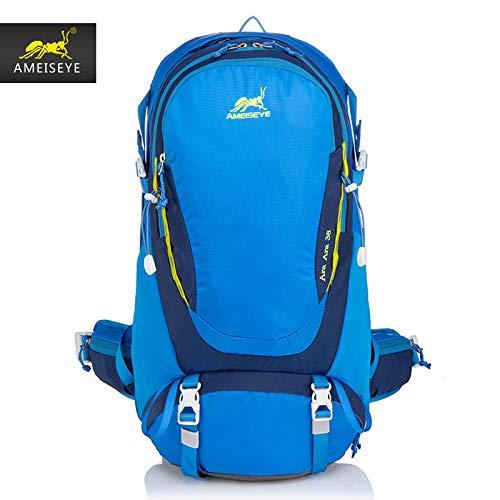 Mochila al Aire Libre de Gran Capacidad a Prueba de Agua Resistente Impermeable para Acampada Montañismo Senderismo para Mountaineering Outdoor Bag Bolsa de Viaje Camping Mochila Impermeable-Azul