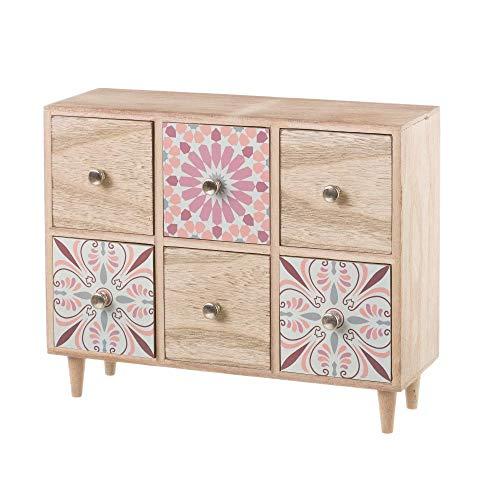 Joyero de Madera con 6 cajones Rosa romántico para Dormitorio Arabia - LOLAhome