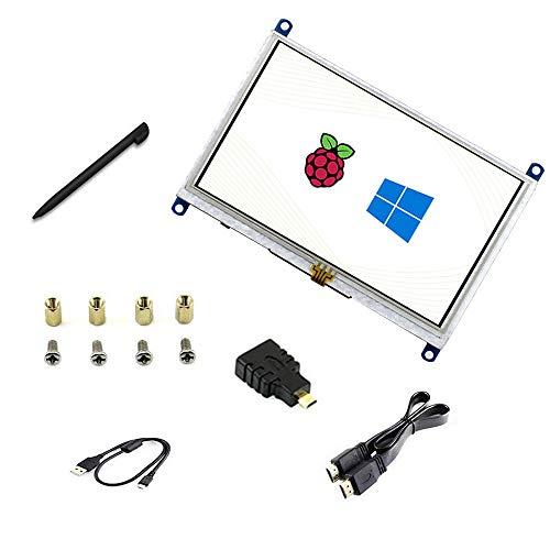 touchscreen da 5 pollici B resistivo LCD 800 * 480 Win10. Interfaccia HDMI Supporta vari sistemi per Raspberry pi4 / 3B + / 3B