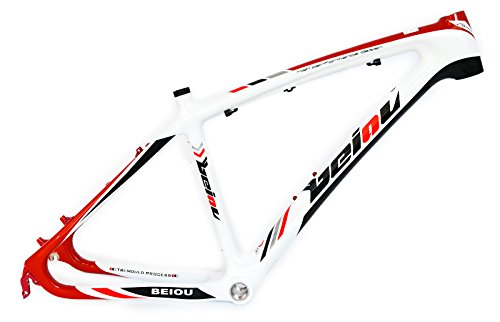 BEIOU 3k Carbon Fiber Mountain Bike Frame 26-Inch Glossy Unibody External Cable Routing T700 Ultralight MTB White Red B005X(19-Inch)